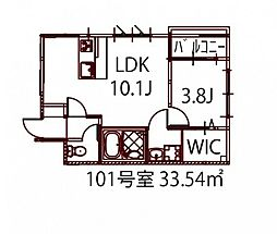 リノリノアパートメント広島エキキタ 2階1LDKの間取り