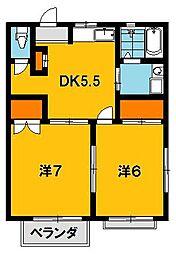 コーポ鶴田[1階]の間取り