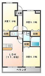 栃木県宇都宮市鶴田1丁目の賃貸マンションの間取り