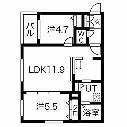 CITY RESIDENCE(シティレジデンス)幌平橋 2階2LDKの間取り
