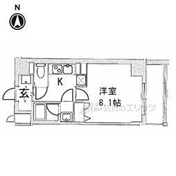 ベラジオ京都西院ウエストシティIII 608 6階1Kの間取り