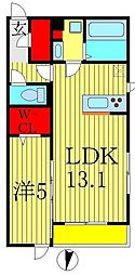 セジュール柏の葉 2階1LDKの間取り