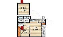 京阪本線 野江駅 徒歩7分の賃貸アパート 3階1LDKの間取り
