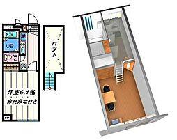 千葉県松戸市中矢切の賃貸アパートの間取り