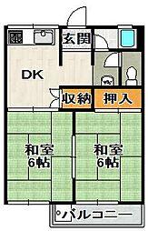 安倉南ハイツIII[2階]の間取り