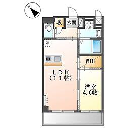 Le bonheur de 三国ヶ丘 3階1LDKの間取り