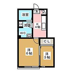 キャトルセゾン東仙台[1階]の間取り
