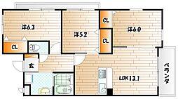 福岡県北九州市小倉南区重住2丁目の賃貸マンションの間取り