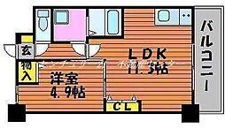 JR山陽本線 西川原駅 徒歩9分の賃貸マンション 2階1LDKの間取り
