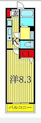 JR常磐線 柏駅 徒歩5分の賃貸アパート 2階1Kの間取り
