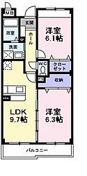 インヴィテ・ボヌール2番館 2階2LDKの間取り