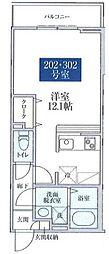 都営大江戸線 新江古田駅 徒歩12分の賃貸アパート 2階ワンルームの間取り