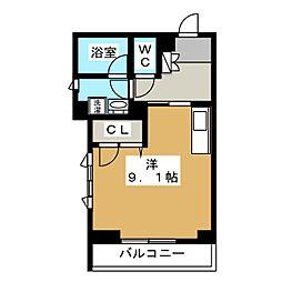 レジデンス桐 1階ワンルームの間取り