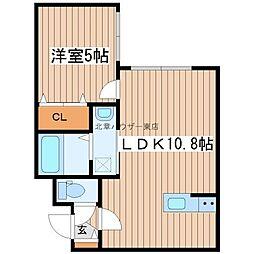 フチュール 4階1LDKの間取り