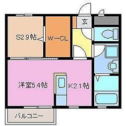 三重県鈴鹿市三日市1丁目の賃貸アパートの間取り