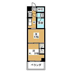 グランド・ガーラ東大島 2階2Kの間取り