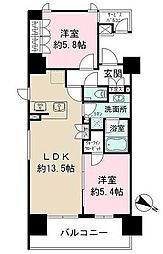 ザパークハビオ目黒 5階2LDKの間取り