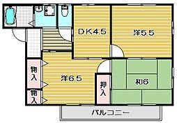 大阪府高槻市別所中の町の賃貸アパートの間取り