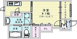 (仮称)箕面市今宮 新築工事 1階1Kの間取り
