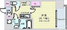 JR大阪環状線 大正駅 徒歩5分の賃貸マンション 4階1Kの間取り