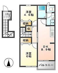 エステートHibino A B[2階]の間取り