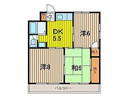 ビラ北浦和[3階]の間取り