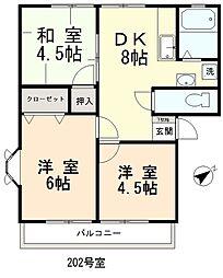 ウインディーコヤマ[202号室]の間取り