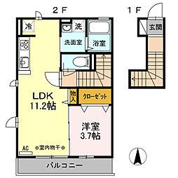 JR横須賀線 東戸塚駅 徒歩14分の賃貸アパート 2階1LDKの間取り