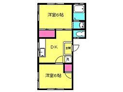 井田ハイツ 1階2DKの間取り