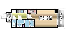 プレサンス神戸キュリオ 15階1Kの間取り