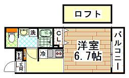 近鉄奈良線 河内小阪駅 徒歩4分の賃貸マンション 4階1Kの間取り