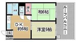兵庫県神戸市灘区原田通3丁目の賃貸マンションの間取り