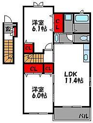 カルムクール[2階]の間取り