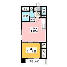 岡山県岡山市南区豊成2の賃貸マンションの間取り
