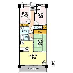 兵庫県神戸市西区二ツ屋1丁目の賃貸マンションの間取り