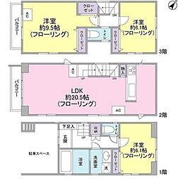 [一戸建] 東京都渋谷区代々木3丁目 の賃貸【東京都 / 渋谷区】の間取り