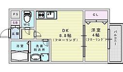 阪急千里線 吹田駅 徒歩5分の賃貸マンション 1階1LDKの間取り