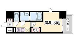 エスリード ザ・ランドマーク神戸 10階1Kの間取り