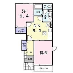 滋賀県守山市千代町の賃貸アパートの間取り