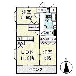 ラ プリマベーラ 2階[203号室]の間取り