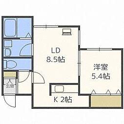A BOND桑園 弐番館[2階]の間取り