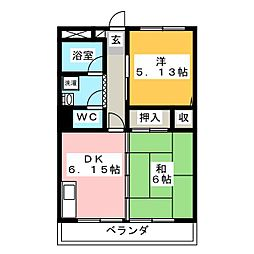 新川崎貮阡 1階2DKの間取り