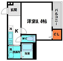 Osaka Metro谷町線 守口駅 徒歩7分の賃貸アパート 3階1Kの間取り