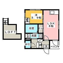 愛知県名古屋市中村区長筬町1の賃貸アパートの間取り