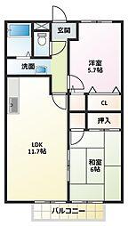 センチュリーパセオB棟[2階]の間取り
