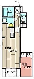 リアンレガーロ東比恵ステーション[201号室]の間取り