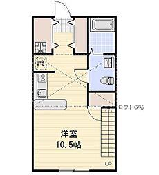 神奈川県川崎市多摩区菅稲田堤1丁目の賃貸アパートの間取り