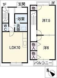 [タウンハウス] 愛知県丹羽郡大口町余野6丁目 の賃貸【/】の間取り