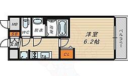 ファステート蒲生公園アぺルザ 6階1Kの間取り