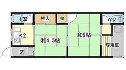 植木野ハウス A棟[6号室]の間取り